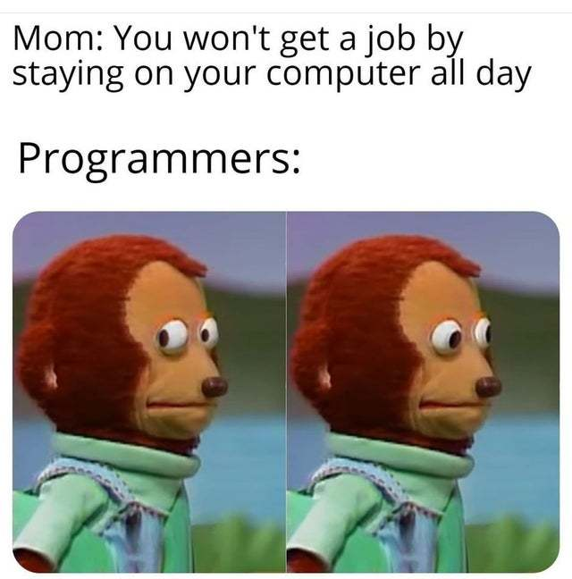 You won't get a job by staying on your computer all day - meme