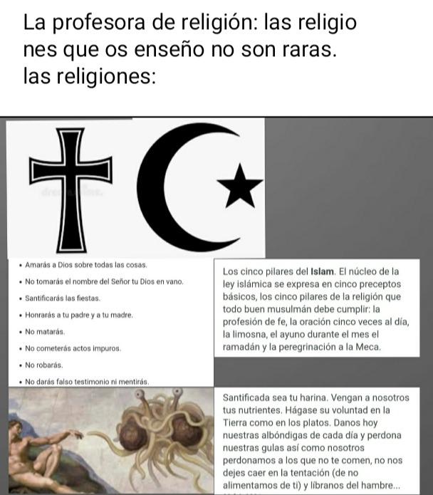 El Pastafarismo la religión mas rara - meme