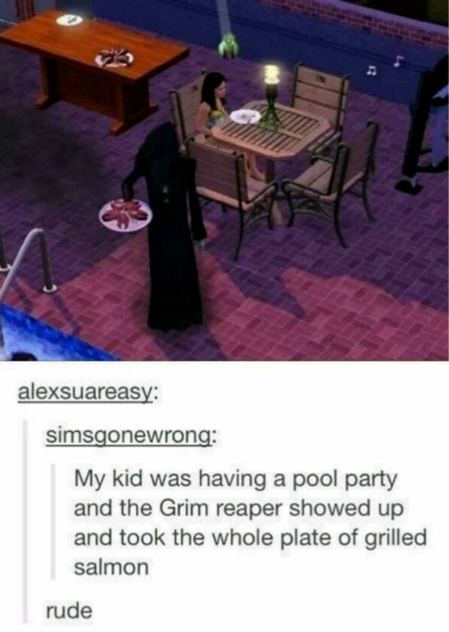 Don't be rude like the Grim Reaper - meme