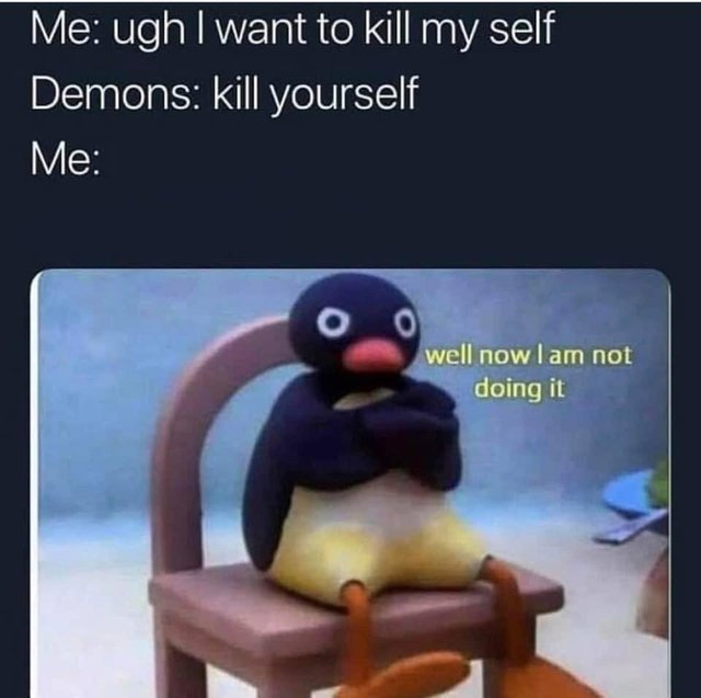 Well I don't really want to kill myself - meme