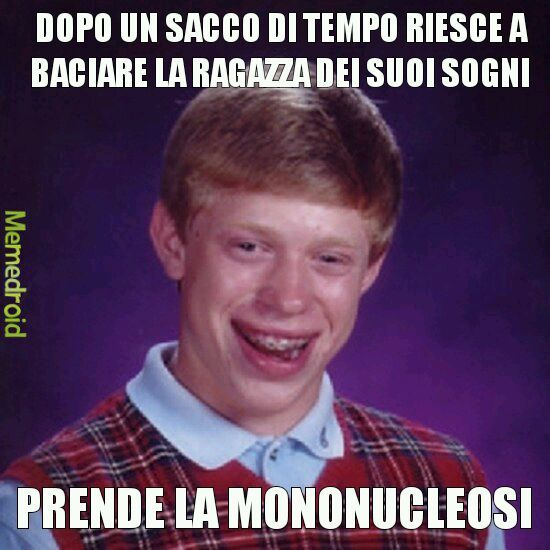 La mononucleosi (anche detta malattia del bacio) si trasmette tramite lo scambio do sliva - meme
