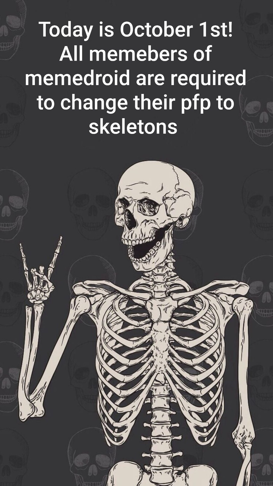 Y'all need to change it to skeletons pfp - meme