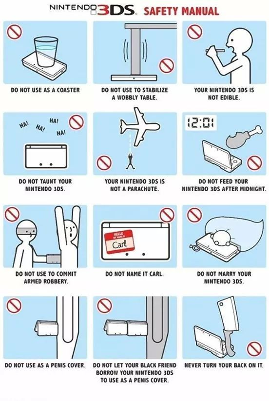 Safety tips for a 3DS - meme