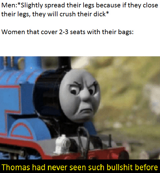 Men are allowed to spread their legs because if they don't,their dick will get stuck to their legs and they'll crush their dicks.But what justifies woman-bagging? - meme