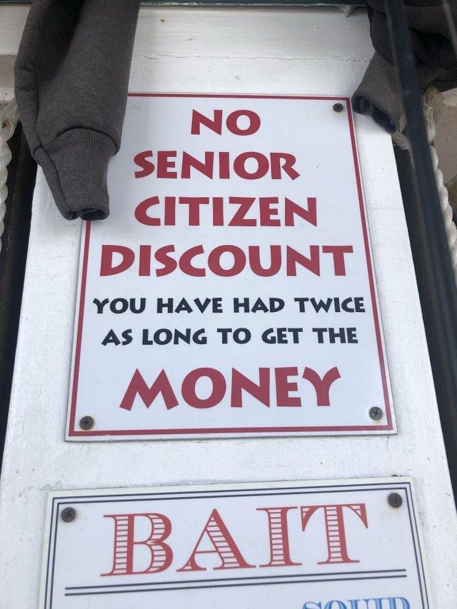 No senior citizen discount - meme