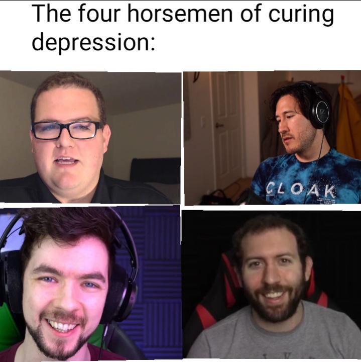 The four horsemen of curing depression - meme