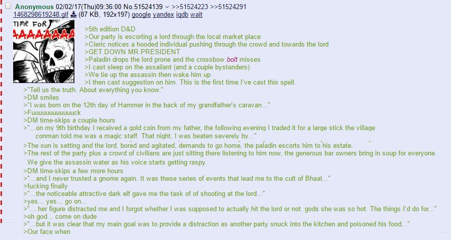 I like DnD greentexts. Here's one for you. I may post another one i found online. - meme