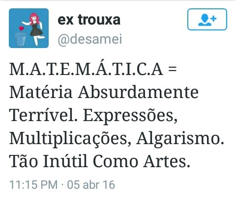matemática= ódio eterno - meme