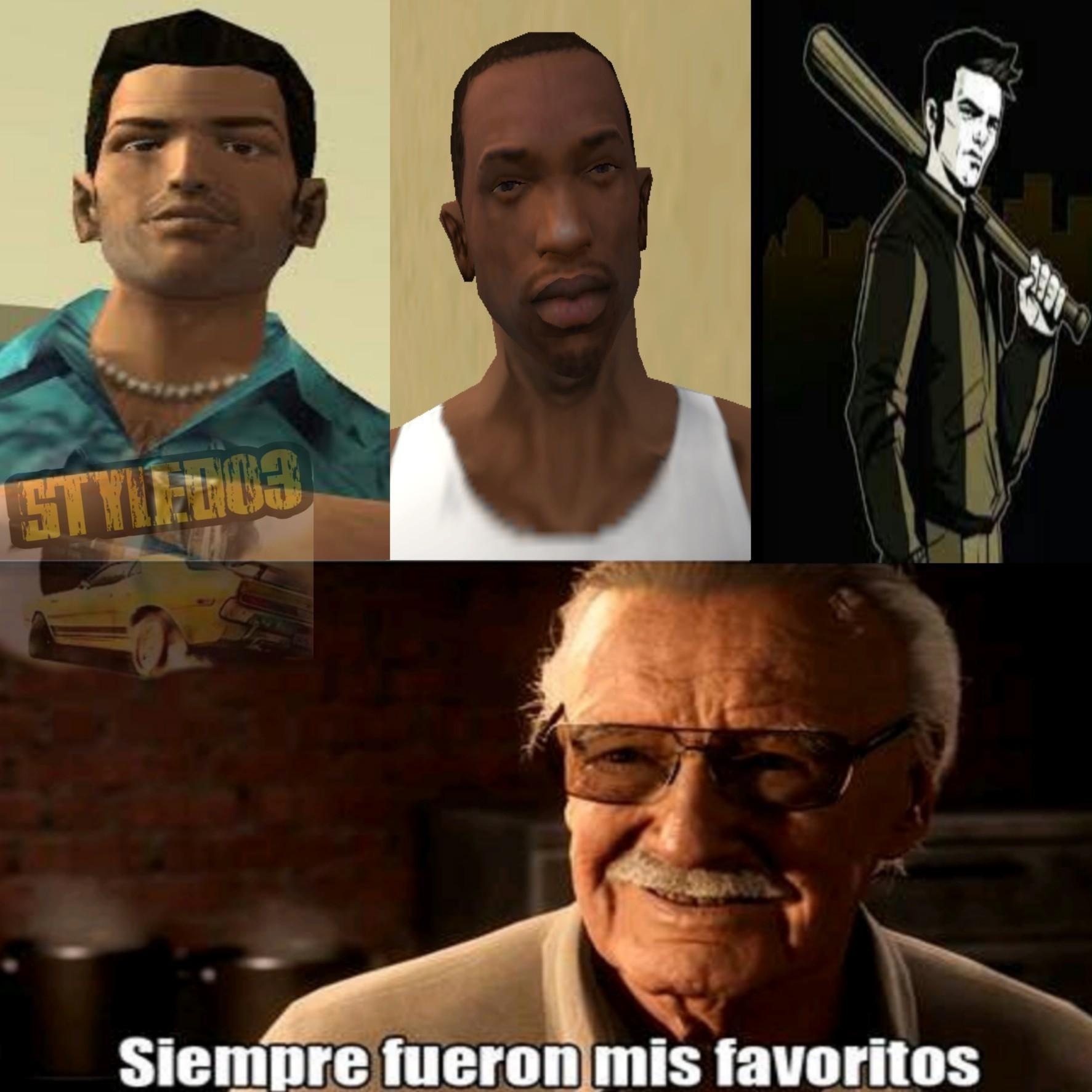 CJ, Tommy Vercetti y Claude Speed - meme