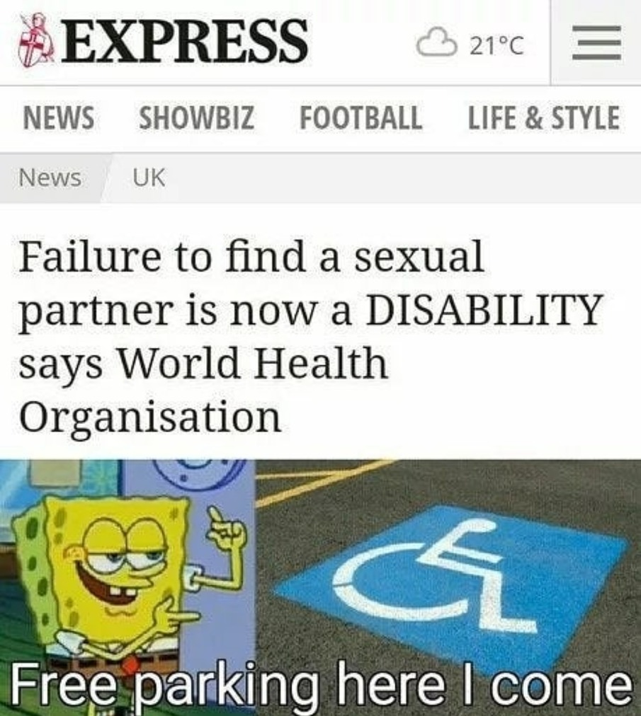 Guess I'm also disabled now. - meme