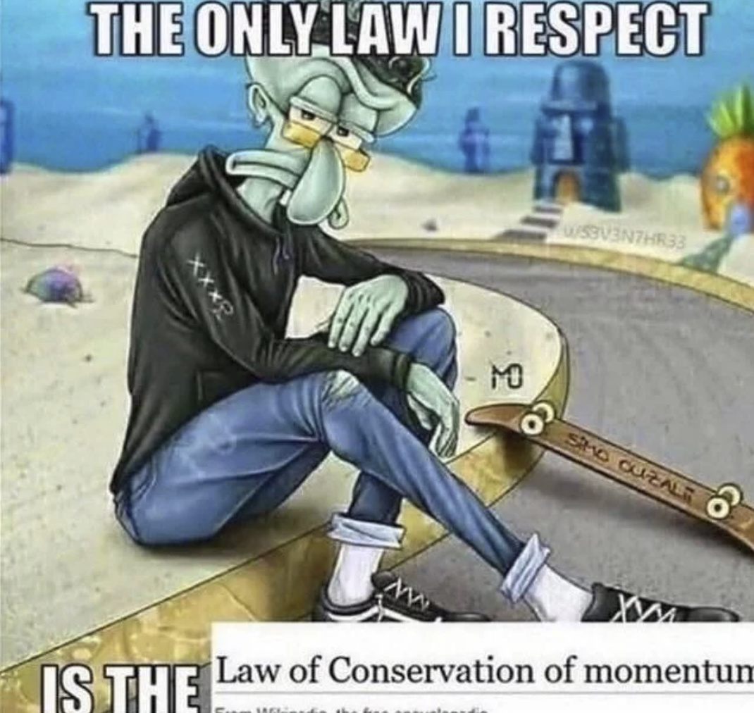 Fuck Momentum all my Homies use Coulomb's law keeping the universe intact - meme