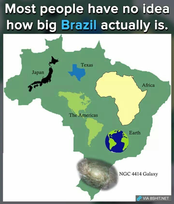 Poucos sabem quão grande é o Brasil - meme
