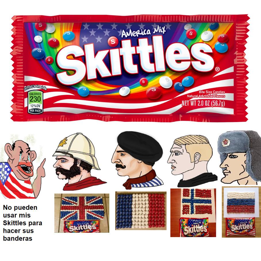 Skittles todo menos estadounidense - meme