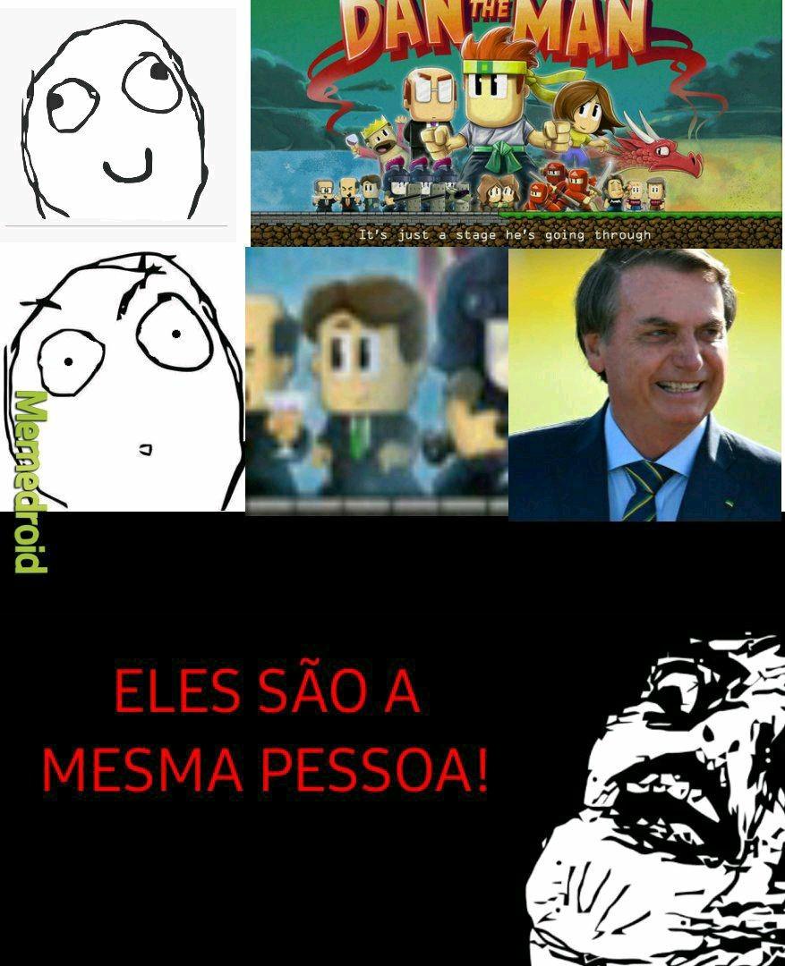 Bolsonaro se divertindo com DAN THE MAN - meme