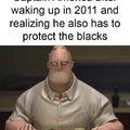 Capitaine America après s'être réveillé en 2011 et réalisé qu'il devait aussi protéger les noirs