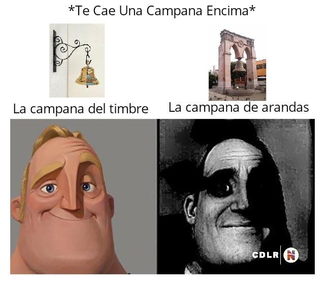 Contexto: La campana de timbre pesa 5kg Y La Campana De Arandas Pesa 15,000kg, Solo Búscalo En Google - meme