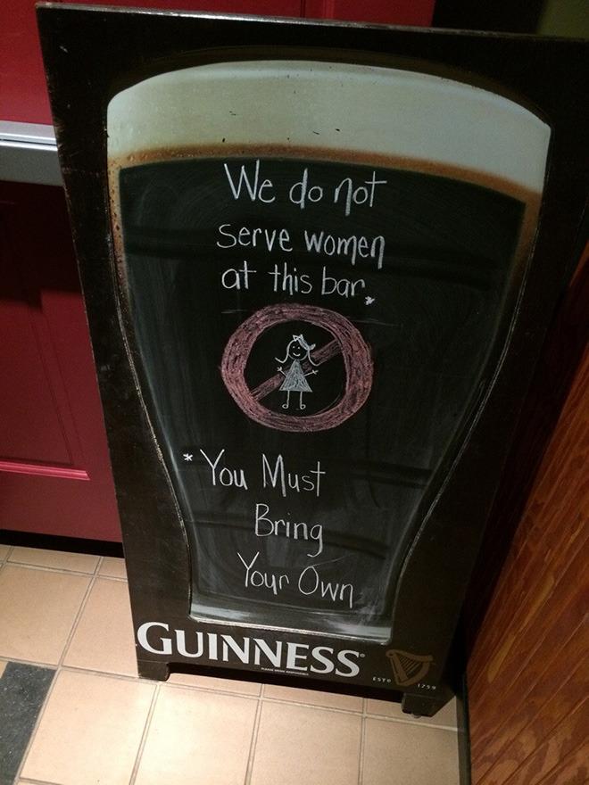 we don't serve women at this bar - meme