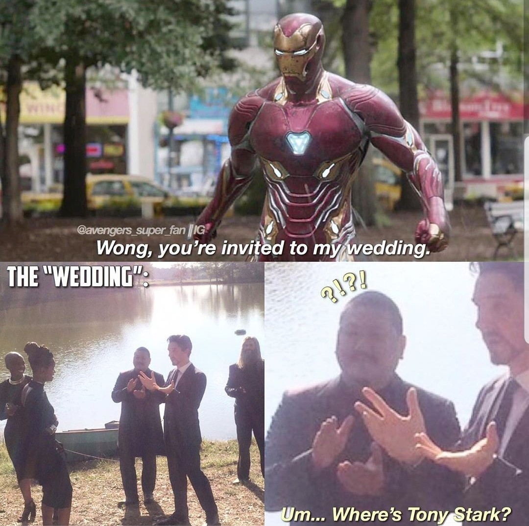 for those who don't get it: the russo brothers told the actors that tony's funeral was his wedding - meme