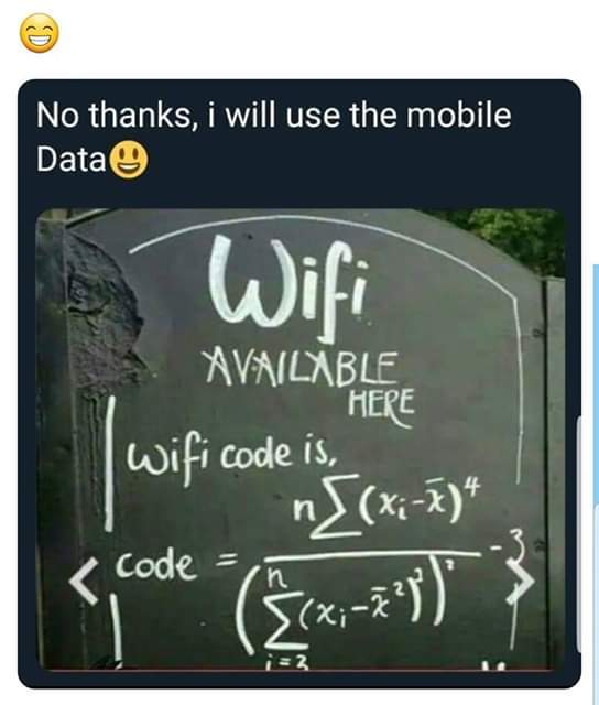 No thanks I'm good with mobile data - meme