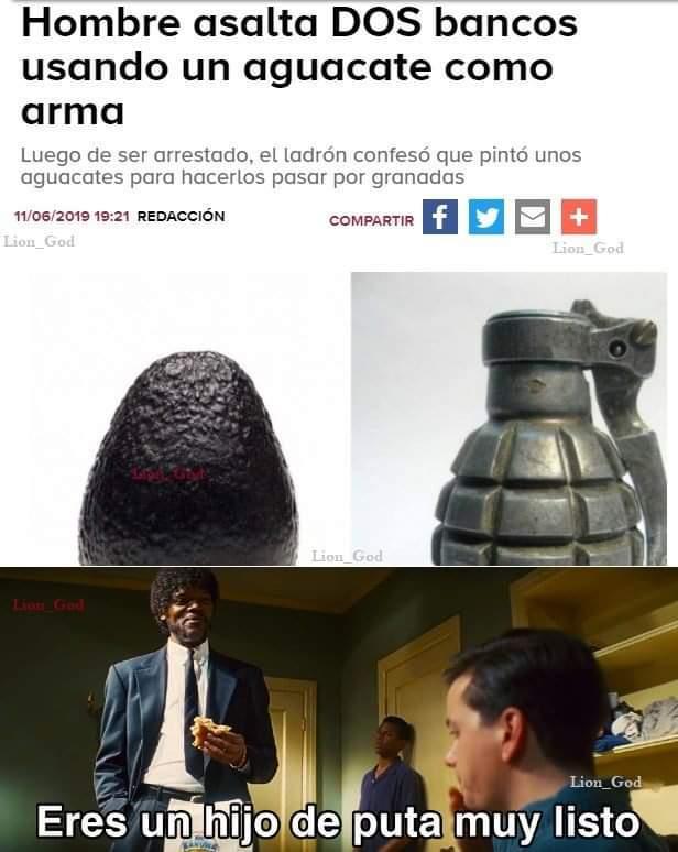 Pinto el aguacate de granadas de guerra - meme