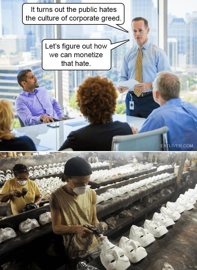 V is for monetizing corporate greed - meme