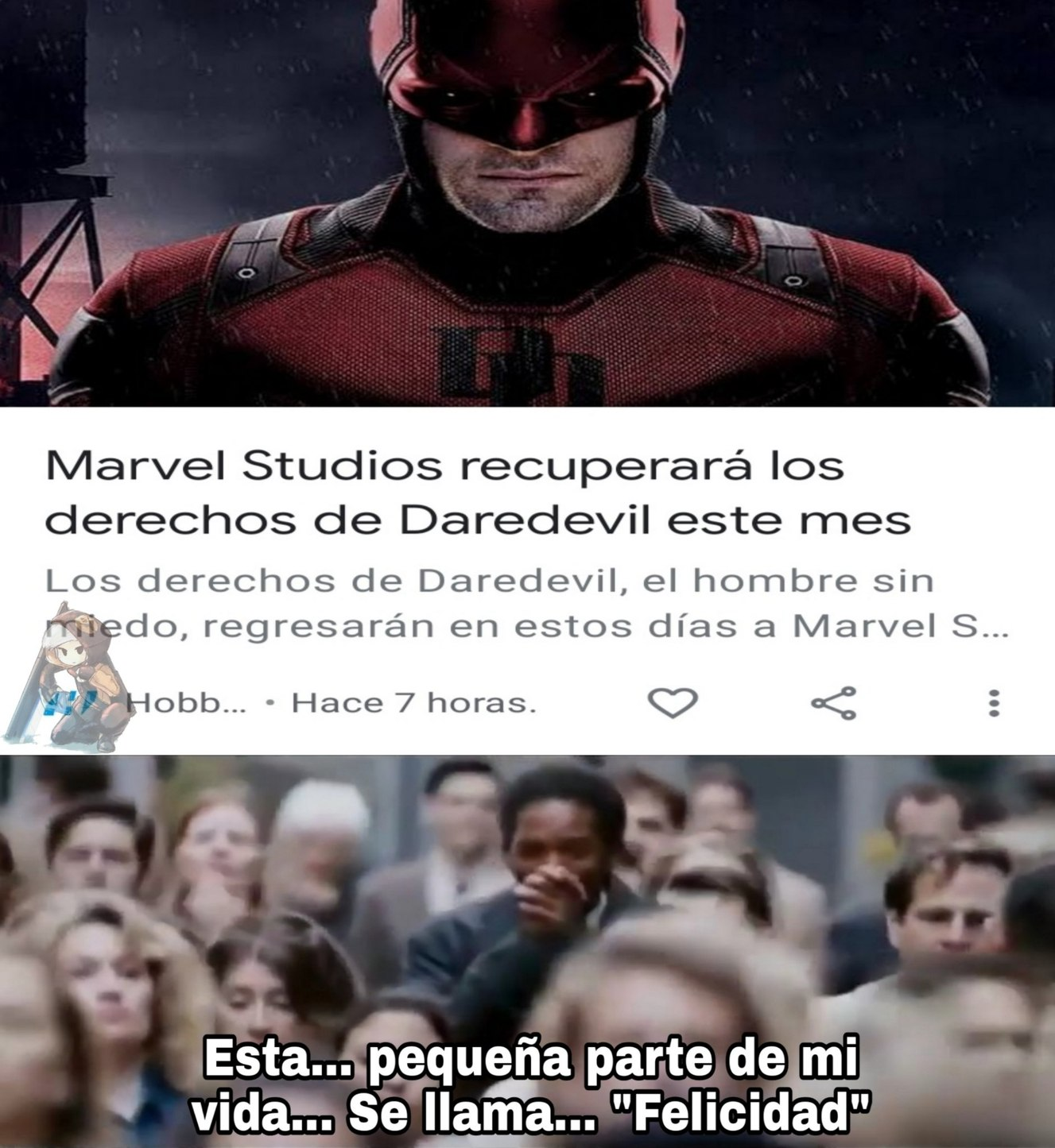 Que conste que yo conozco a Daredevil desde chiquito y amaba sus cómics... Aunque tuvieran temas maduros que recien hoy entiendo - meme