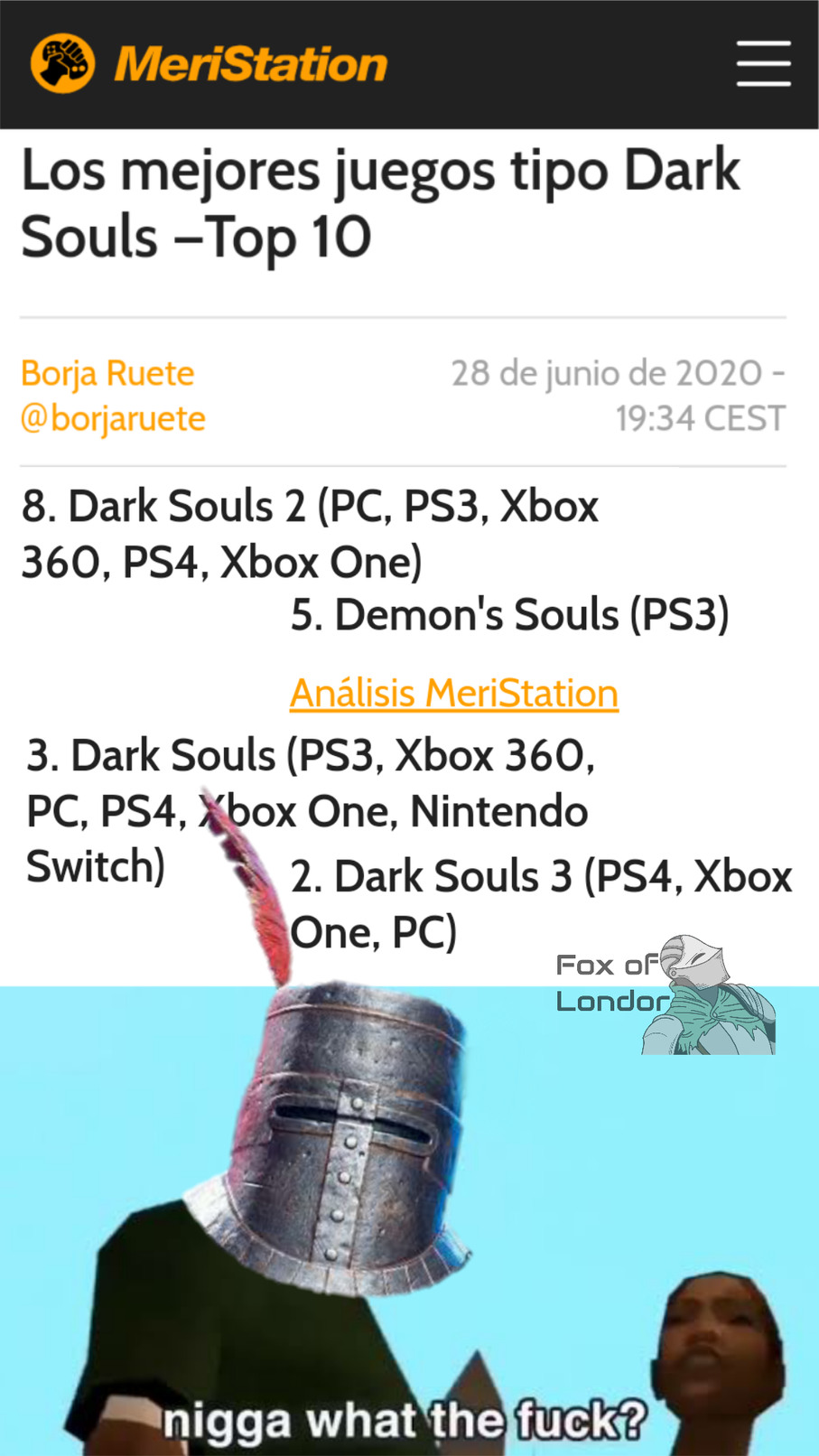 Piña souls - meme