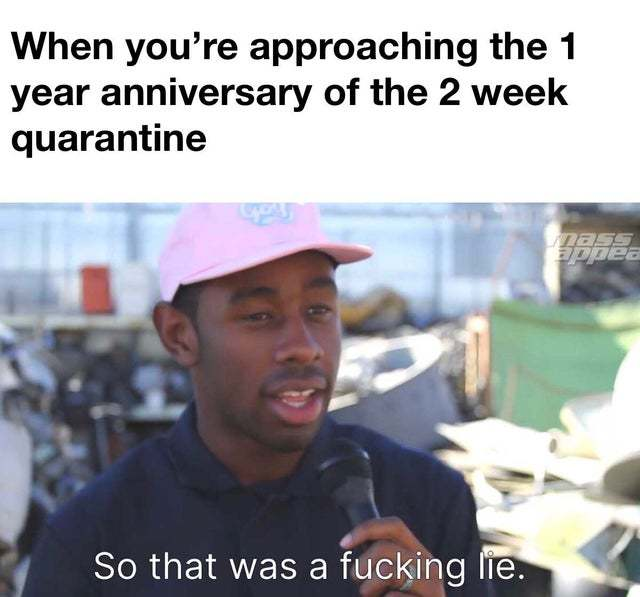 When you are approaching the 1 year anniversary of the 2 week quarantine - meme