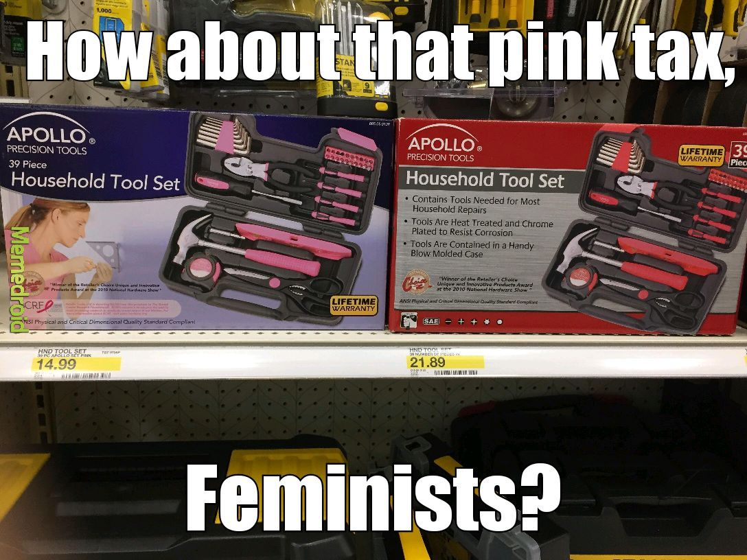 Women claim women-centered items cost more for no reason - meme