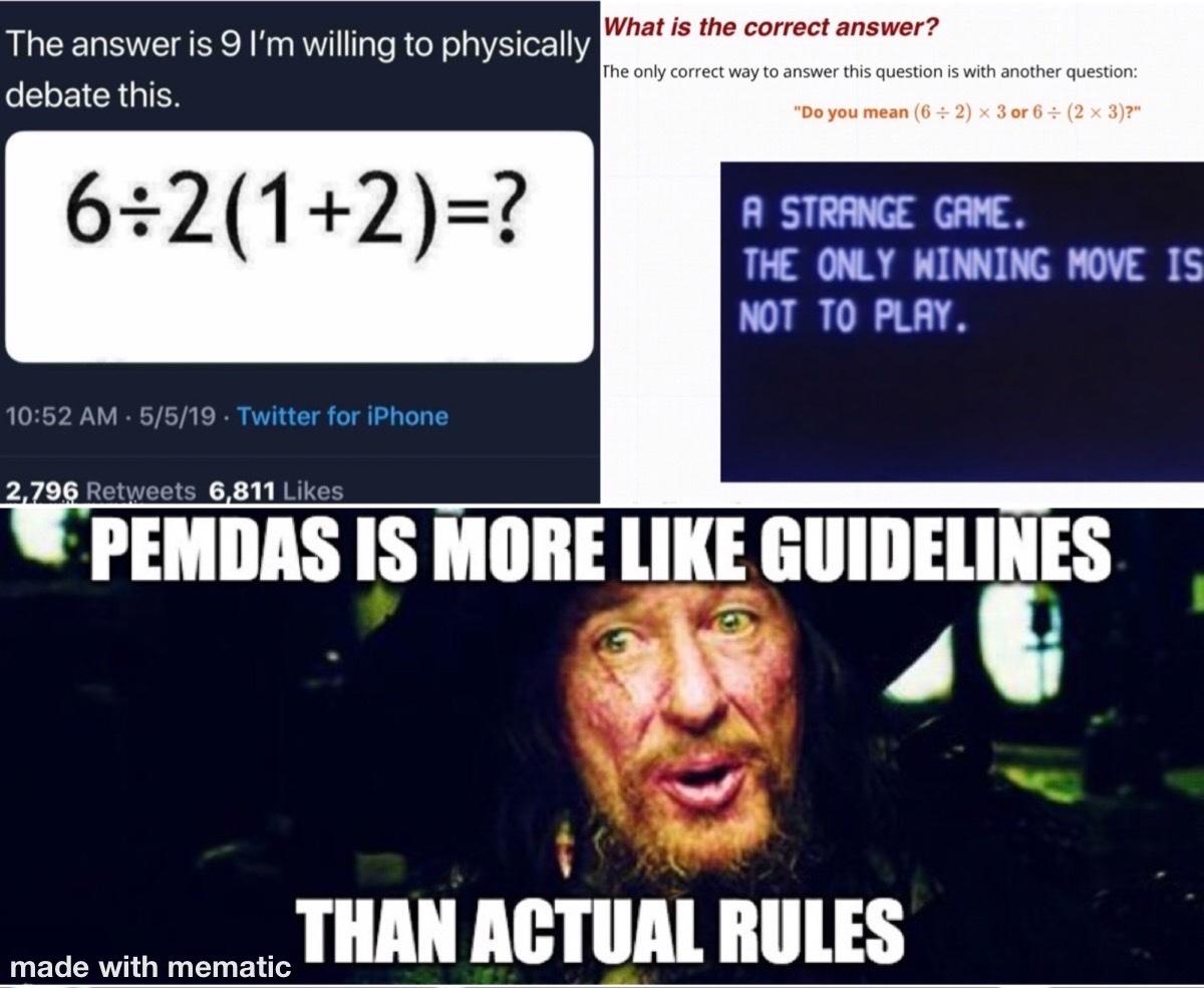 9 or 1... ambiguous equation is ambiguous - meme